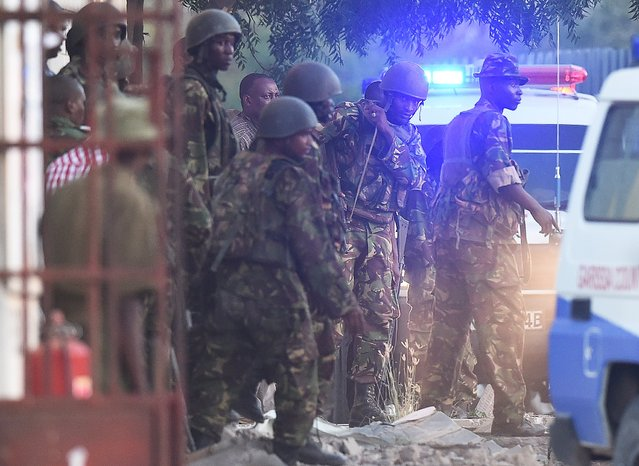 Kenya Defence Forces are pictured after they ended a siege by gunmen in the university on April 2, 2015 in the northeastern town of Garissa. (Photo by Carl De Souza/AFP Photo)