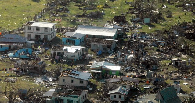 A remote Fijian village is photographed from the air during a surveillance flight conducted by the New Zealand Defence Force after Cyclone Winston on February 21, 2016. (Photo by Reuters/NZ Defence Force)