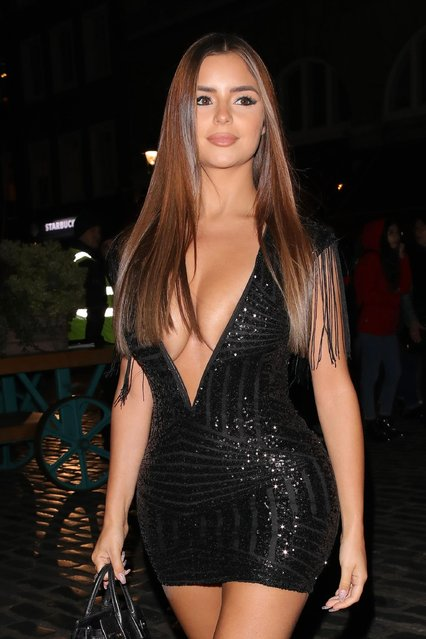 Demi Rose seen attending I Saw It First party at SUSHISAMBA Covent Garden on February 11, 2019 in London, England. (Photo by The Mega Agency)