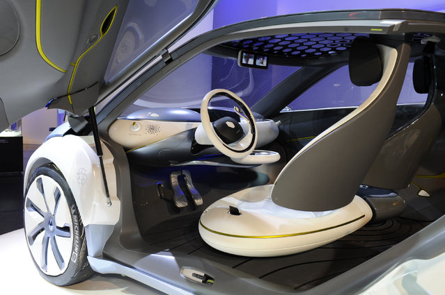 A Zoe Z.E. (Zero Emission) concept car is displayed during an exhibition of electric vehicle at the Renault Champs Elysees showroom in Paris, November 2009. (Photo by Jacky Naegelen/Reuters)
