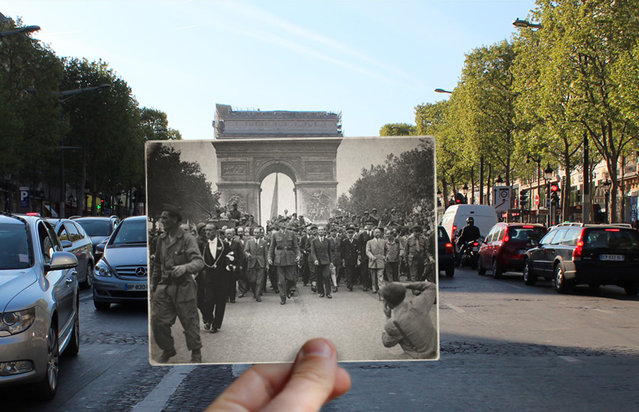 It is already one of the world's most iconic cities, but this incredible collection shows how much Paris has changed over the course of the past century. The collection, by French photographer Julien Knez, shows Paris in the 1940s against a backdrop of how the same places look today. (Photo by Julien Knez/Caters News)