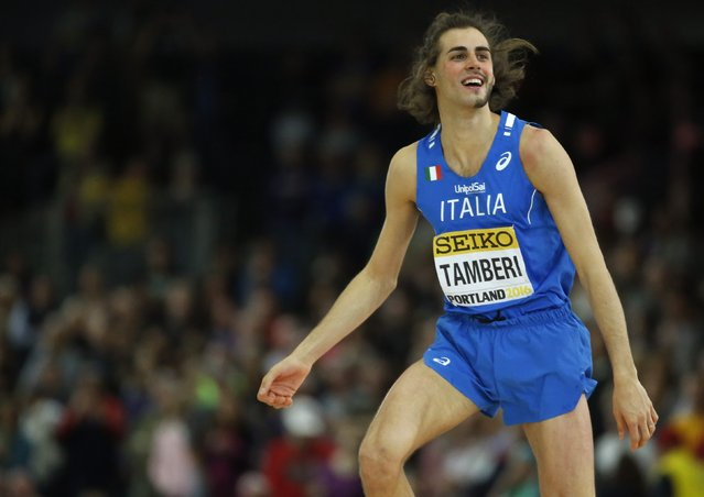 Gold medalist Gianmarco Tamberi of Italy celebrates a jump during the men's high jump competition at the IAAF World Indoor Athletics Championships in Portland, Oregon March 19, 2016. (Photo by Lucy Nicholson/Reuters)