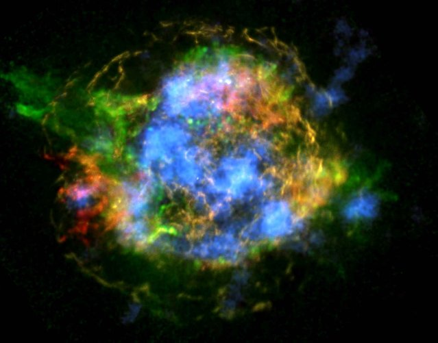 The mystery of how Cassiopeia A exploded is unraveling thanks to new data from NASA's Nuclear Spectroscopic Telescope Array, or NuSTAR. In this NASA image obtained February 19, 2014, NuSTAR data, which shows high-energy X-rays from radioactive material, are colored blue. (Photo by NASA/AFP Photo/PL-Caltech/CXC/SAO)