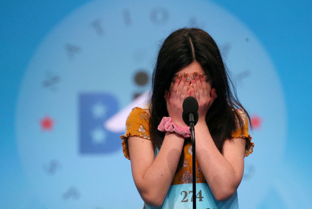 Melodie Loya, 14, competes in the finals of the 92nd annual Scripps National Spelling Bee in National Harbor, Maryland, U.S., May 30, 2019. (Photo by Leah Millis/Reuters)