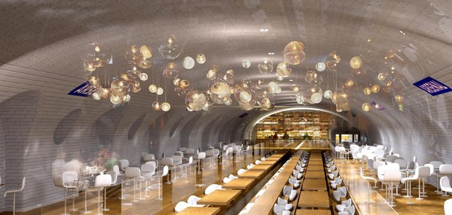 This computer image provided in March 2014 by Laisne Architectes shows an abandoned Paris subway station turned into a restaurant, part of conservative candidate for Paris Mayor Nathalie Kosciusko-Morizet's, known as NKM, plan to reimagine the city. Paris has 10 abandoned metro stations, mostly unseen as the trains hurtle through their darkened tunnels. NKM has a futuristic plan to transform these stations into public spaces like a swimming pool, performance hall or restaurant. (Photo by AP Photo/Oxo Archiract/Nicolas Laisne Architectes)