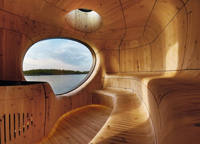 Grotto sauna, Ontario, Canada, by Partisans. This sauna on the shores of Lake Huron was built with wood milled using computer modelling. The components were then constructed on site as if piecing together an oversized, outdoor jigsaw puzzle. (Photo by Jonathan Friedman/Partisans/The Guardian)
