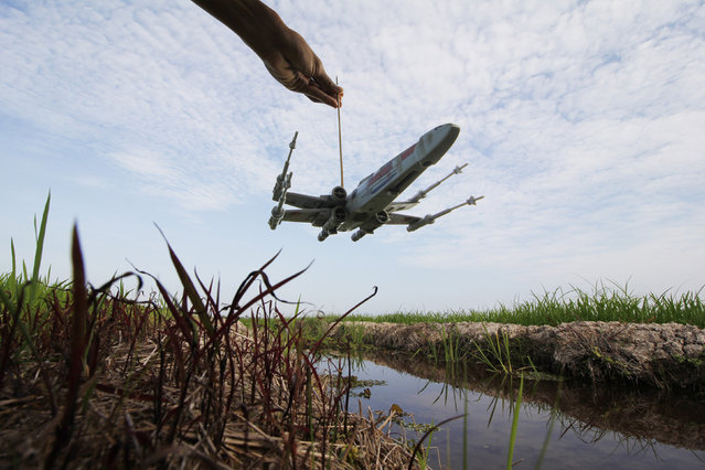 A Rebel X-Wing fighter spacecraft flies over the rice fields of Malaysia. (Photo by Zahir Batin/Mercury Press)