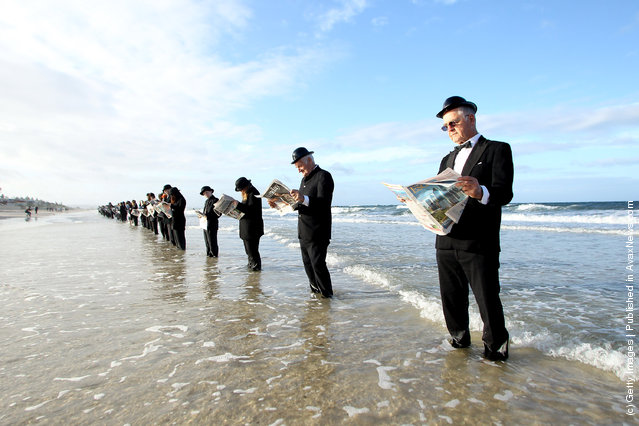Human Sculpture Created At Henley Beach by Andrew Baines