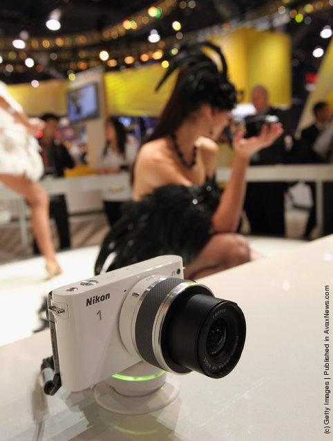 A Nikon 1 camera is displayed at the Nikon booth at the 2012 International Consumer Electronics Show