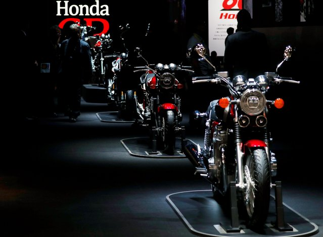 Honda CB motor cycles are displayed at the Tokyo Motor Show, in Tokyo, Japan on October 23, 2019. (Photo by /Reuters)