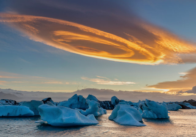 """Cinnamon Rolls Cloud"". Sun Bingyin was shortlisted for this evening shot at Jökulsárlón, Iceland. (Photo by Sun Bingyin/2019 Weather Photographer of the Year/RMetS)"