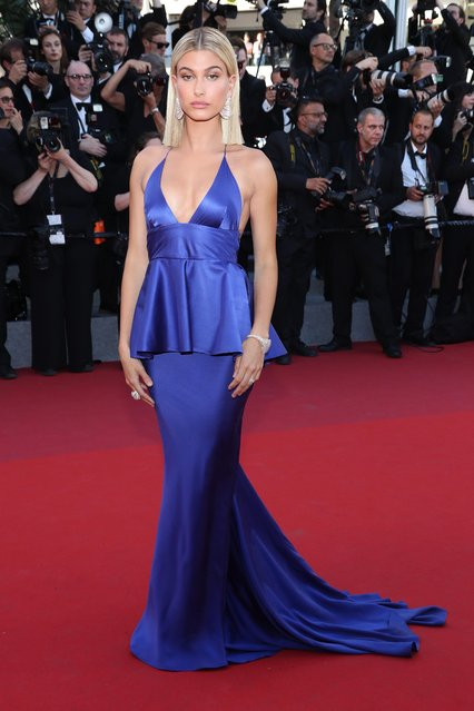 """Hailey Baldwin attends the """"Ismael's Ghosts (Les Fantomes d'Ismael)"""" screening and Opening Gala during the 70th annual Cannes Film Festival at Palais des Festivals on May 17, 2017 in Cannes, France. (Photo by Matt Baron/Rex Features/Shutterstock)"""