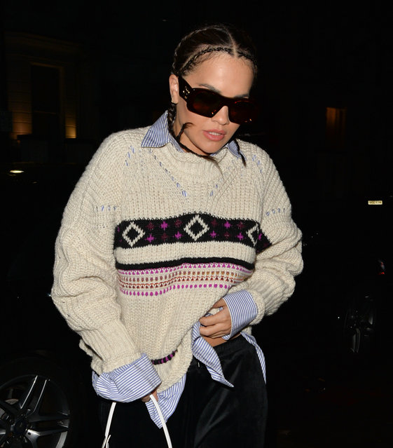Rita Ora seen leaving Roundhouse, Camden, London on November 14, 2019. (Photo by Palace Lee/Splash News and Pictures)