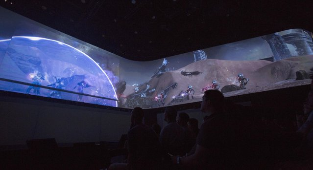 "A preview of the video game ""Destiny"" is shown during a Sony Computer Entertainment America media briefing before the opening day of the Electronic Entertainment Expo, or E3, at the Memorial Sports Arena in Los Angeles, June 9, 2014.  REUTERS/Mario Anzuoni"