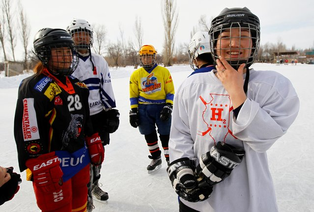 Members of Kyrgyzstan's first female hockey team are seen during a training session in the village of Otradnoye, Kyrgyzstan on February 4, 2020. (Photo by Vladimir Pirogov/Reuters)