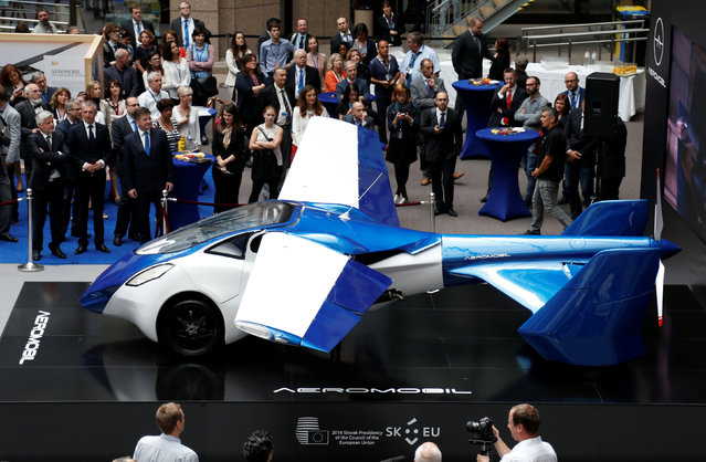 AeroMobil, a flying car prototype, is pictured during a ceremony marking the taking over of the rotating presidency of the European Council by Slovakia, in Brussels, Belgium, July 7, 2016. (Photo by Francois Lenoir/Reuters)