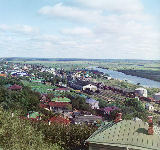 Photos by Sergey Prokudin-Gorsky. View of the railroad, city of Vladimir, Kliazma River, and water-meadows, 1911