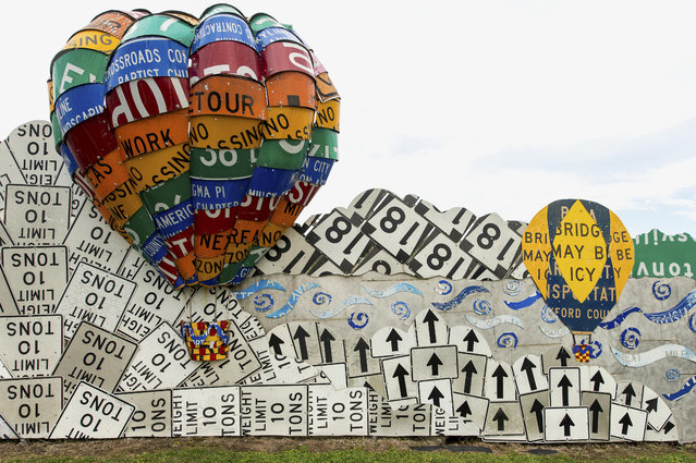 In collaboration with the Pennsylvania Department of Transportation, Allegheny College art students repurpose used street signs as art materials to create the PennDOT Road Sign Sculpture Garden in Meadville, Pennsylvania, USA on August 19, 2017. (Photo by Brian Cahn/ZUMA Wire/Rex Features/Shutterstock)