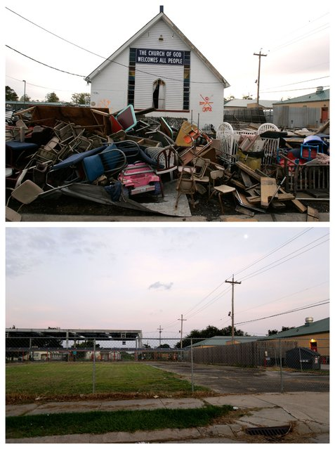 This combination of December 16, 2005 and July 28, 2015 photos shows debris in front of the Church of God damaged by Hurricane Katrina in the Lower Ninth Ward neighborhood of New Orleans, and a decade later, an empty lot where it once stood. Before Katrina, the Lower Ninth Ward was a working-class and predominantly African-American neighborhood just outside the city's historic center. (Photo by Jacqueline Larma/Gerald Herbert/AP Photo)