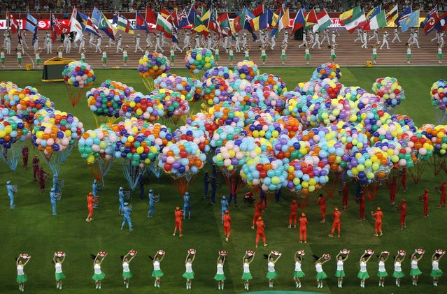 Performers take part in the closing ceremony of the 15th IAAF World Championships at the National Stadium in Beijing, China August 30, 2015. (Photo by Fabrizio Bensch/Reuters)