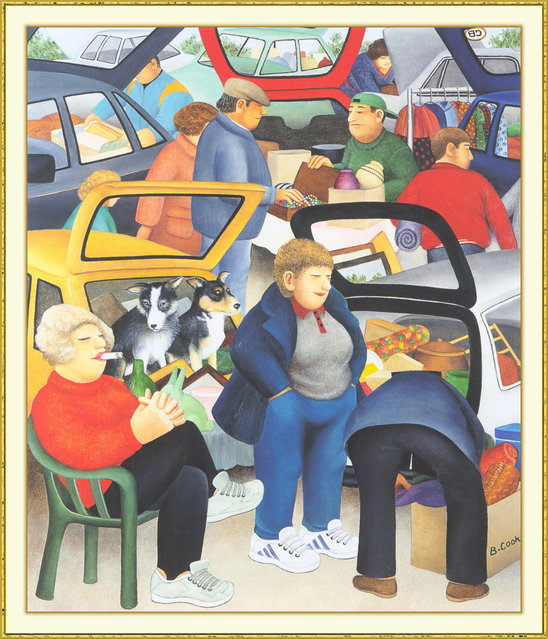 Car Boot Sale. Artwork by Beryl Cook