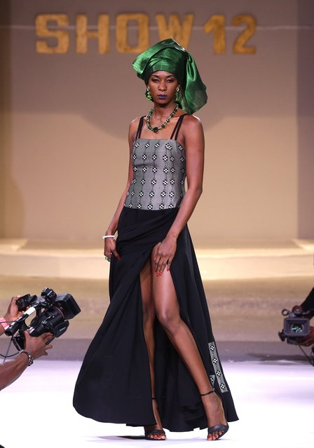 A model presents a creation by Senegalese designer Bineta Sow Sow during the 12th edition of the Afrik Fashion Show in Abidjan, Ivory Coast, 07 October 2017. (Photo by Legnan Koula/EPA/EFE)
