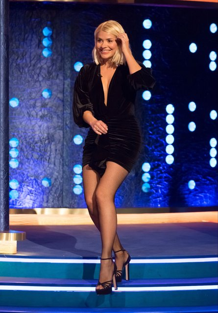 """English television presenter Holly Willoughby at """"The Jonathan Ross Show"""" TV show, Series 15, Episode 13 in London, England on December 7, 2019. (Photo by Brian J. Ritchie/Hotsauce/Rex Features/Shutterstock)"""