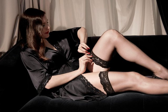 """Actress Liv Tyler, 40, stripped in shots for the Triumph Essence's Autumn/Winter 2017 campaign in November, 2017. The Essence line is Triumph's premium offering, with this season taking on the theme of """"opulent Art Nouveau"""", featuring designs in velvet embellished mesh, Leavers lace and silk satin. (Photo by Rankin/The Mega Agency)"""