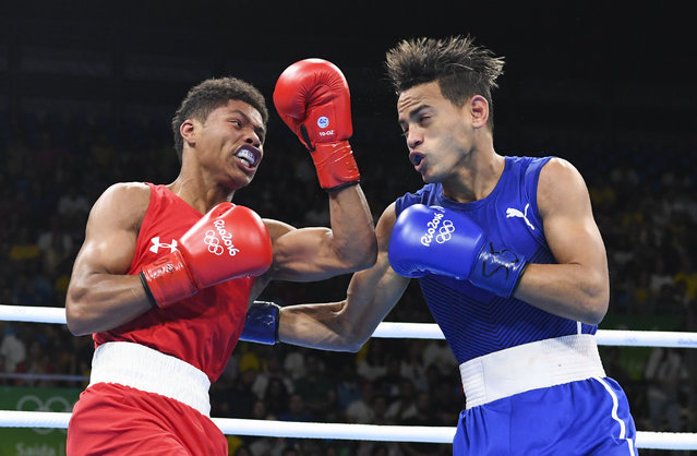 Shakur Stevenson (USA)  lost a split decision to Robeisy Ramirez (CUB) in the gold medal bout during the Olympic Games on August 20, 2016 in Rio De Janeiro, Brazil. (Photo by Jonathan Newton/The Washington Post)