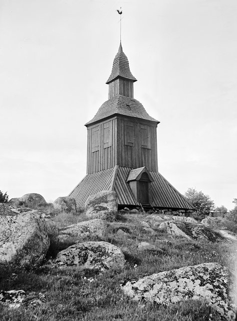 Bell tower of Gryta Church, Uppland, Sweden, 1933. The wooden bell tower was built in 1752. (Photo by Einar Erici)