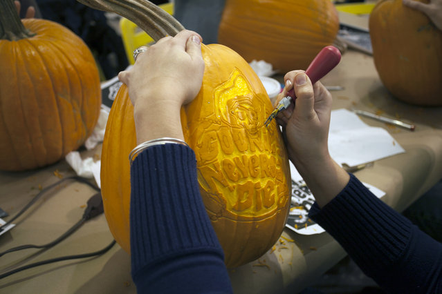 A Goonies pumpkin in progress at Cotton Candy Machine in Brooklyn, N.Y. on October 18, 2014. (Photo by Siemond Chan/Yahoo Finance)