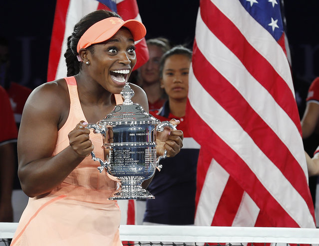 Sloane Stephens of the US holds the championship trophy after defeating Madison Keys of the US to win the US Open Tennis Championships women's singles final at the USTA National Tennis Center in Flushing Meadows, New York, USA, 09 September 2017. (Photo by John G. Mabanglo/EPA/EFE)