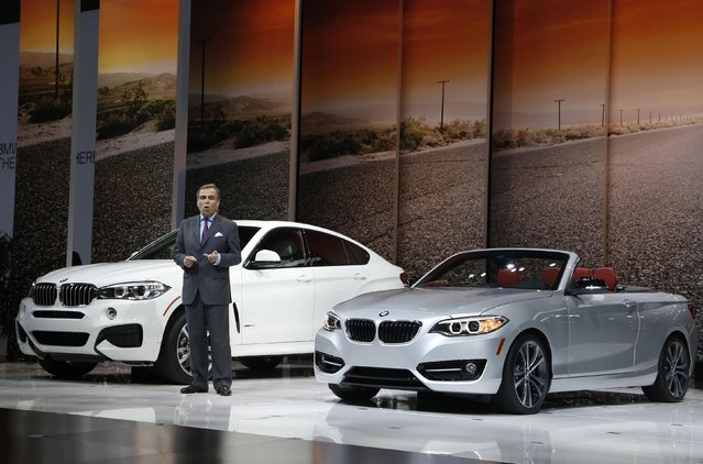 Ludwig Willisch, chairman and CEO of BMW USA, speaks during the Los Angeles Auto Show in Los Angeles, California November 19, 2014. (Photo by Lucy Nicholson/Reuters)