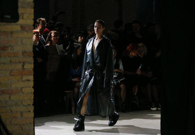 A model presents a creation by Ukrainian designer Volodymyr Demchynskiy and his brand Dastish Fantastish during the Ukrainian Fashion Week in Kiev, Ukraine, 03 February 2018. The fashion event presents Autumn/Winter 2018/19 collections by Ukrainian and international designers from 03 to 07 February 2018. (Photo by Sergey Dolzhenko/EPA/EFE)