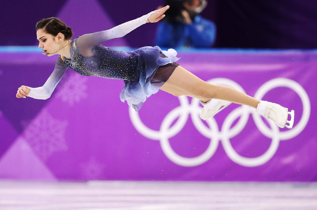 Russia' s Evgenia Medvedeva competes in the women' s single skating short program of the figure skating event during the Pyeongchang 2018 Winter Olympic Games at the Gangneung Ice Arena in Gangneung on February 21, 2018. (Photo by Lucy Nicholson/Reuters)