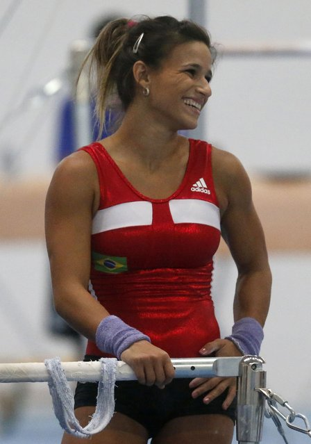 Brazilian gymnast Jade Barbosa smiles during a training session at the new Brazilian Artistic Gymnastics Center in Rio de Janeiro January 16, 2015. (Photo by Sergio Moraes/Reuters)