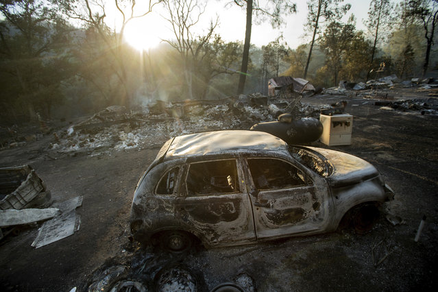 A vehicle scorched by a wildfire rests in a clearing on Wolf Creek Road near Clearlake Oaks, Calif., Sunday, June 24, 2018. Wind-driven wildfires destroyed buildings and threatened hundreds of others Sunday as they raced across dry brush in rural Northern California. (Photo by Noah Berger/AP Photo)