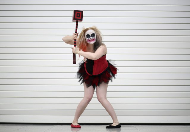 Maisy Minx dressed as Harley Quinn from the Batman comic book poses for a photograph at the London supercomic convention at the Excel centre, east London, March 14, 2015. (Photo by Paul Hackett/Reuters)