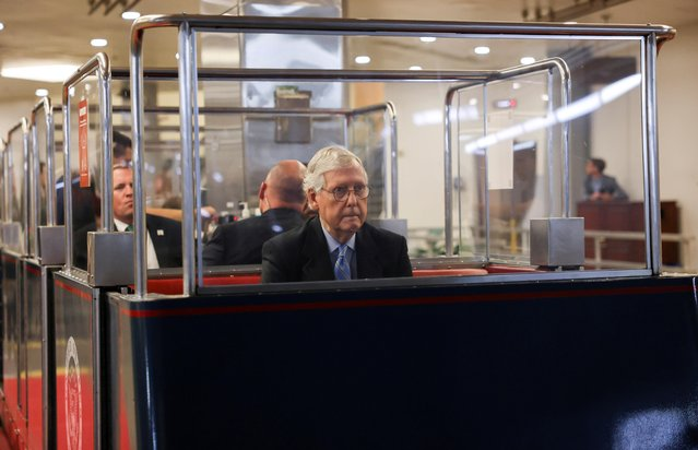 U.S. Senate Minority Leader Mitch McConnell (R-KY) arrives in a U.S. Senate subway car for a vote in the Senate on Capitol Hill in Washington, U.S., June 10, 2021. (Photo by Evelyn Hockstein/Reuters)