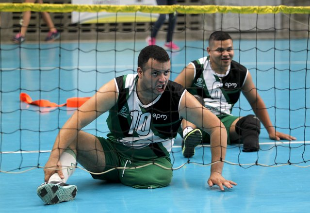 National Army of Colombia soldiers, who were wounded by mines, play sitting volleyball in Bello, municipality of Antioquia, March 25, 2015. (Photo by Fredy Builes/Reuters)