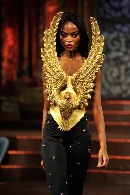 A model walks the runway at Rocky Gathercole – Art Hearts Fashion NYFW Fall/Winter 2016 at The Angel Orensanz Foundation on February 17, 2016 in New York City. (Photo by Kris Connor/Getty Images For Art Hearts Fashion)