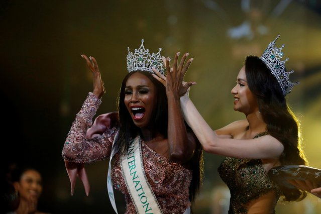 Winner Jazell Barbie Royale of the U.S., reacts on stage during the final show of the Miss International Queen 2019 transgender beauty pageant in Pattaya, Thailand on March 8, 2019. (Photo by Jorge Silva/Reuters)
