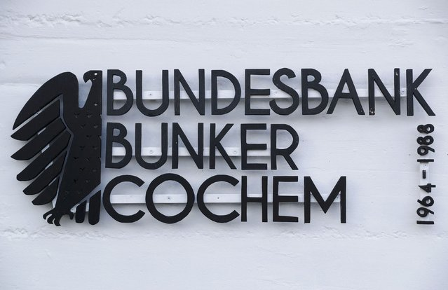 "A sign reads ""Federal Reserve Bank (Bundesbank) bunker Cochem – 1964-1988"" prior to the bunker's official opening to the public in Cochem, Germany, March 18, 2016. West Germany's Central Bank (Deutsche Bundesbank) stored some 20 billion German marks of emergency notes in two underground bunkers, one in Frankfurt the other in Cochem, between 1964-1988 during the cold war. (Photo by Kai Pfaffenbach/Reuters)"