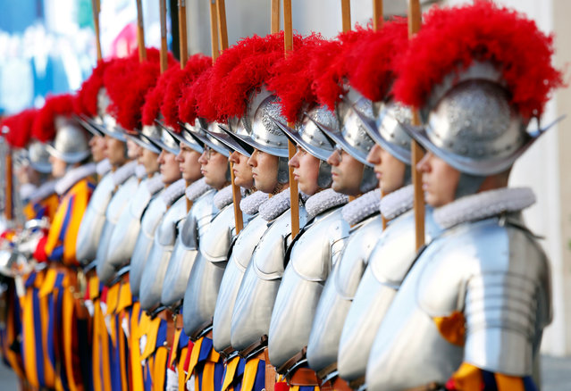 New recruits of the Vatican's elite Swiss Guard attend the swearing-in ceremony at the Vatican, May 6, 2019. (Photo by Remo Casilli/Reuters)