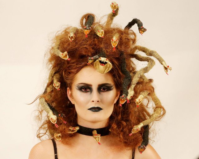 Model Natasha Kelly wears a creation called Medusa by stylist Shannon Bradley from Dundalk, at the Irish Hairdresser Federation National Hairdressing Championships at the Citywest Hotel in Dublin, on March 9, 2014. (Photo by Niall Carson/PA Wire)