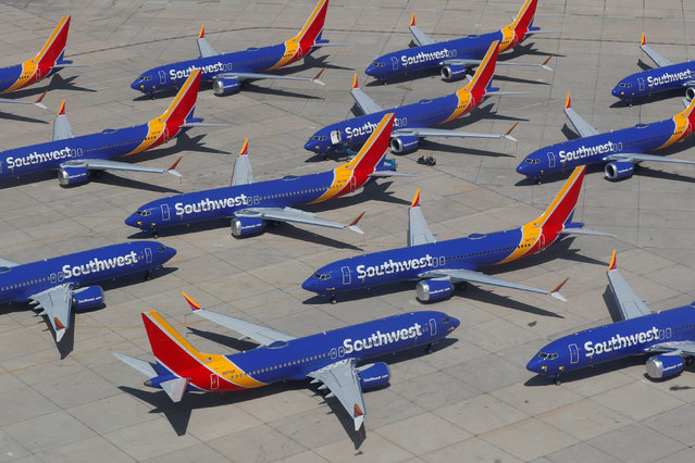 A number of grounded Southwest Airlines Boeing 737 MAX 8 aircraft are shown parked at Victorville Airport in Victorville, California, U.S., March 26, 2019. (Photo by Mike Blake/Reuters)