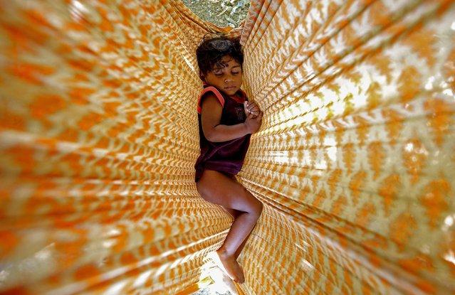 Indian homeless girl sleeps in a hammock along the roadside in Bangalore, India, 24 May 2016. (Photo by Jagadeesh N.V./EPA)