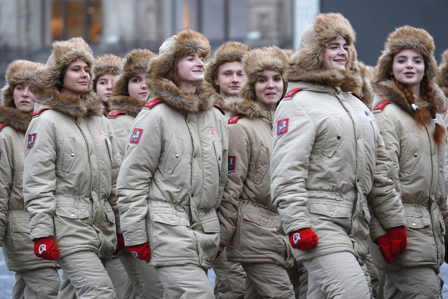 "Members of the ""Yunarmiya"" youth military organization during a dress rehearsal of a march in Red Square in Moscow, Russia on November 5, 2019, marking the 78th anniversary of the 7 November 1941 October Revolution Parade. (Photo by Mikhail Japaridze/TASS)"