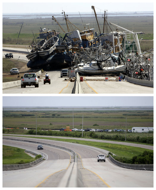 This combination of October 10, 2005 and August 4, 2015 photos shows a tangle of fishing boats blocking the lanes of Highway 23 in Empire, La. after Hurricane Katrina ravaged the region, and the same site a decade later. (Photo by Don Ryan/Gerald Herbert/AP Photo)