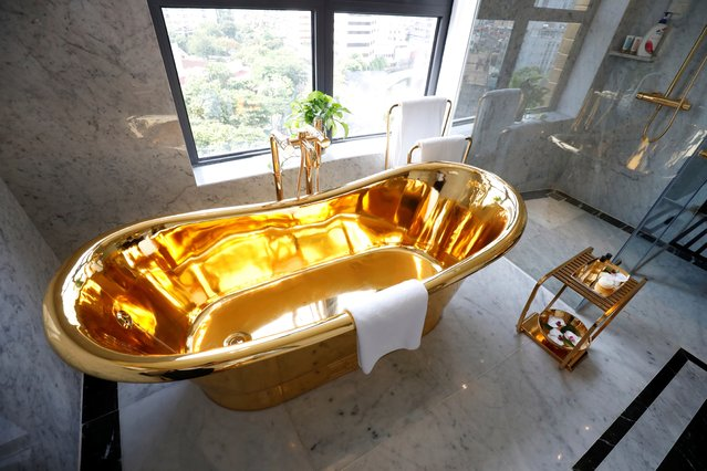 A gold plated bathtub is seen in the newly-inaugurated Dolce Hanoi Golden Lake luxury hotel, after the government eased a nationwide lockdown following the global outbreak of the coronavirus disease (COVID-19), in Hanoi, Vietnam on July 2, 2020. (Photo by Reuters/Kham)
